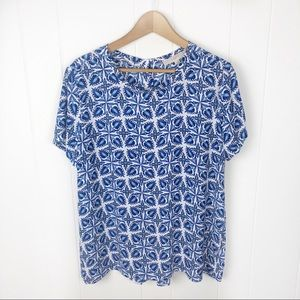 Loft•Blue & white print shirt sleeve blouse large